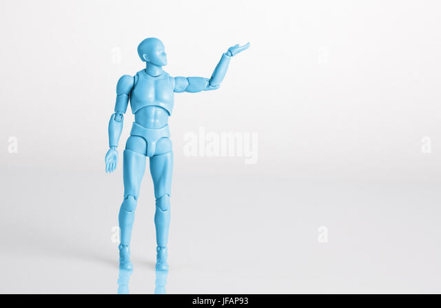 Blue male figurine standing on white reflective table holding one hand up. Making a decision concept with copy space - Stock Image