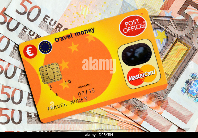 A post office  travel money card and euros - Stock-Bilder