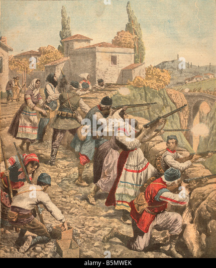9JG 1915 11 0 A1 E Serbs in WW I Col Print Petit Journal World War I 2nd Serbia Expedition by the Central Powers - Stock Image
