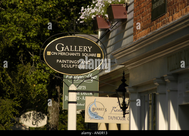 colonial williamsburg virginia merchants square shopping signs - Stock Image