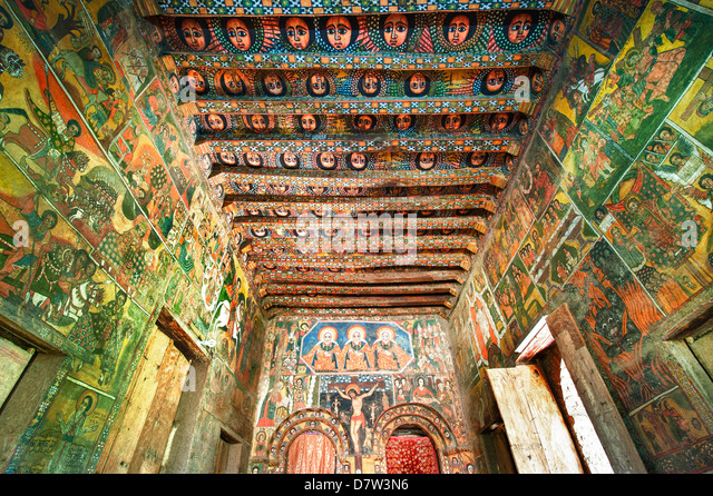 Ancient wall paintings in the interior of the Debre Birhan Selassie Church, Gondar, Ethiopia - Stock-Bilder