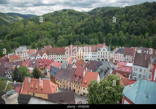 Old medieval town of Loket, Czech Republic - Stock-Bilder