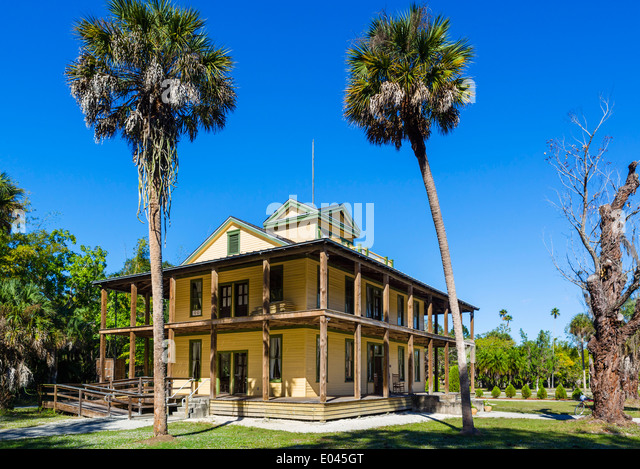 The Planetary Court Building of the Koreshan Unity Settlement, Koreshan State Historic Park, Estero, nr Fort Myers, - Stock Image