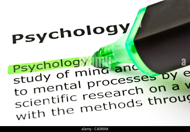 The word 'Psychology' highlighted in green with felt tip pen - Stock Image