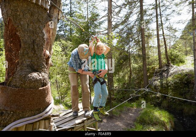 Father and child preparing for high rope in forest, Ehrwald, Tyrol, Austria - Stock Image