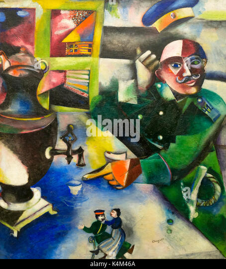 The Soldier Drinks, by Marc Chagall, 1911-1912, Solomon R. Guggenheim Museum, Manhattan, New York City, USA, North - Stock Image