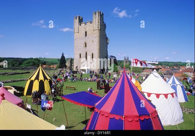 Helmsley Castle, medieval historical re-enactment, encampment Yorkshire England UK - Stock Image