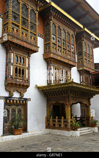 Richly Ornated Windows, Doors And Bay Windows In The Monastery And Fortress Punakha Dzong, Punakah, Bhutan - Stock Image