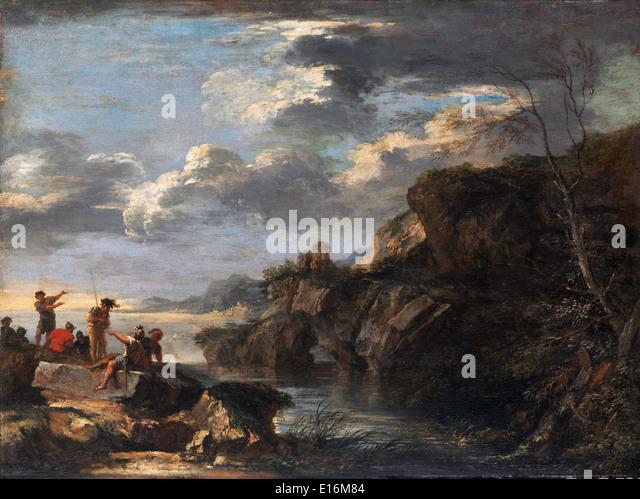 Bandits on Rocky Coast by Salvator Rosa, 1660 - Stock Image