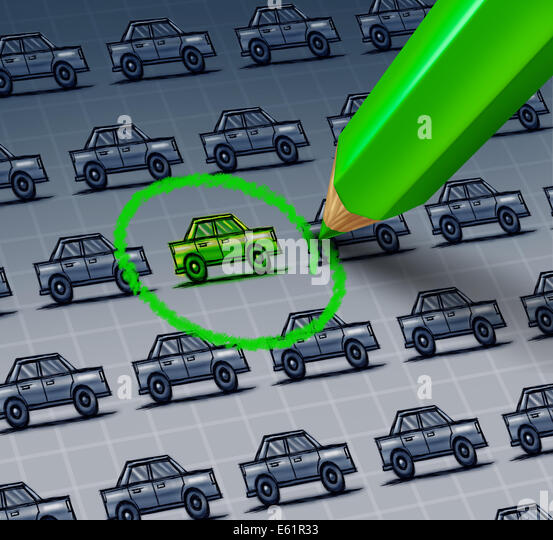 Green car choice concept as a drawing of a group of automobiles with a green pencil drawing a circle around an ecologicaly - Stock Image