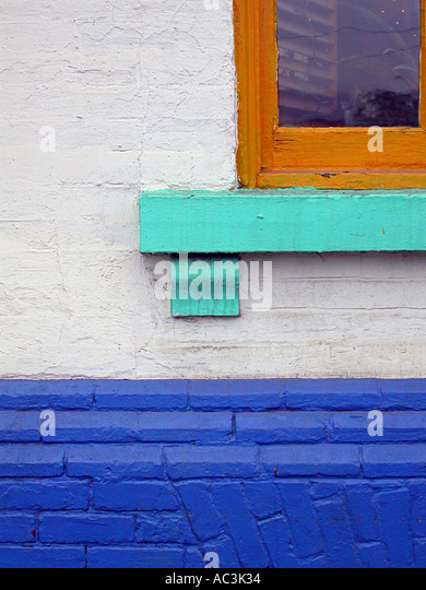 Abstract Window and painted wall of hostel hotel Toronto - Stock Image