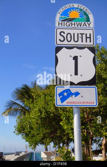 Florida Florida Keys US Route 1 One Overseas Highway Vaca Key Marathon New Sevenmile Seven Mile Bridge Gulf of Mexico - Stock Image