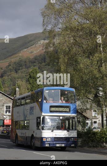 UK, England, Grasmere, double decker tour coach bus, - Stock Image