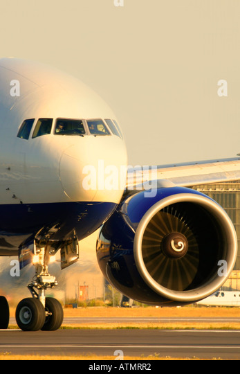 Close-up of commercial airplane - Stock Image