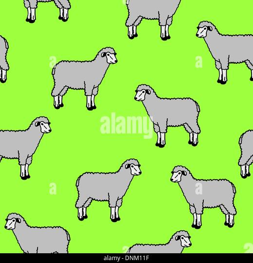 seamless wallpaper with sheep and rams - Stock Image