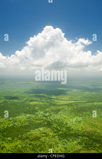 Aerial view of clouds over the coastal plains of northern Mozambique. - Stock-Bilder