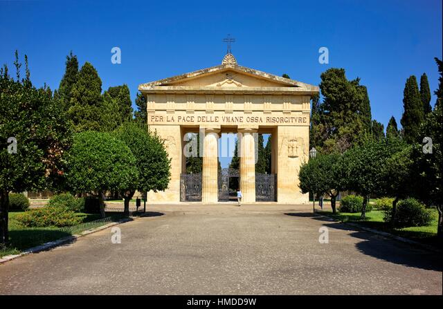 The entrance gate of the cemetery in Lecce, Apulia, Italy - Stock Image