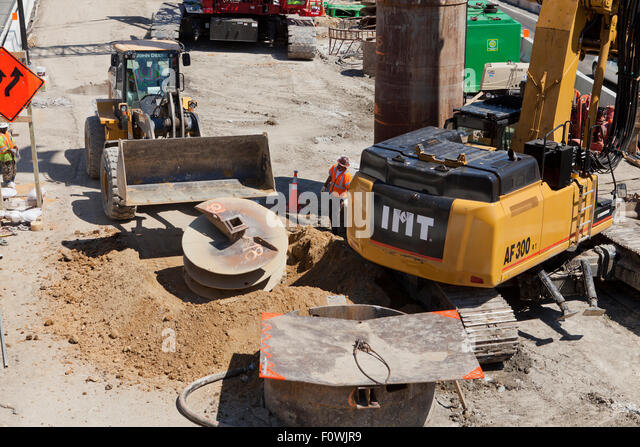 Heavy digging equipment at construction site - USA - Stock Image