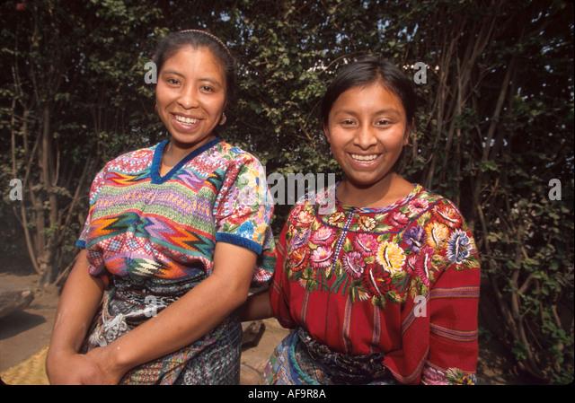 Guatemala La Antigua colonial capitol until earthquake Cakchiquel Indigenous women - Stock Image
