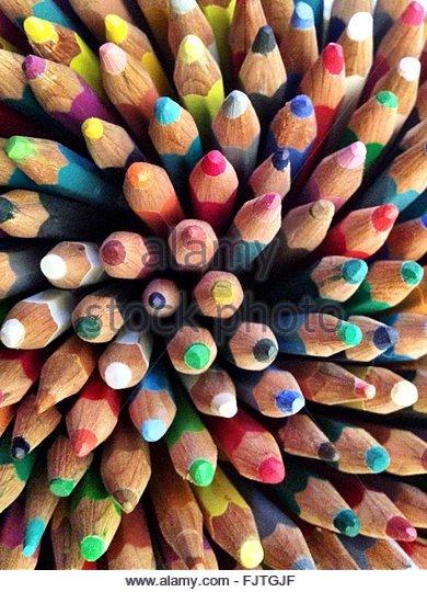 Full Frame Shot Of Colored Pencils - Stock-Bilder