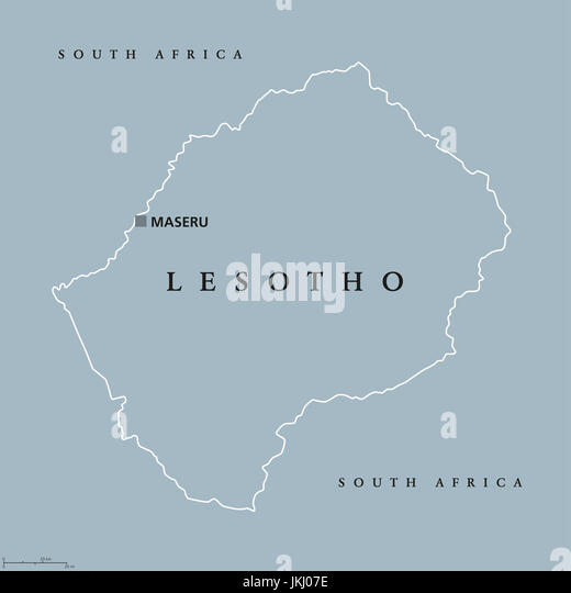 Lesotho political map with capital Maseru. Kingdom and landlocked country in South Africa. Previously known as Basutoland. - Stock Image