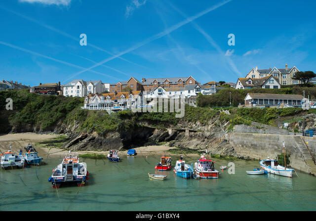 newquay harbour with boats - Stock Image