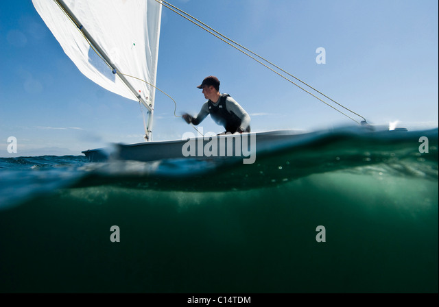 A male athlete Laser training in La Cruz, Mexico - Stock Image