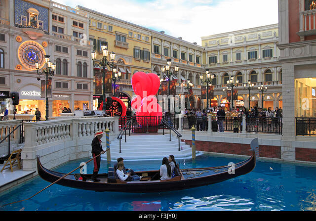 China, Macau, Venetian, resort, hotel, casino, interior, - Stock Image