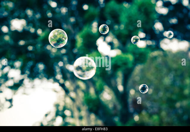 Soap bubbles floating mid air with trees in background - Stock Image