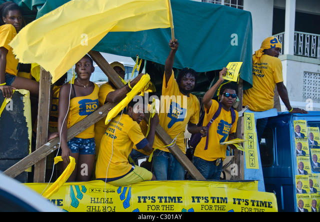St. Vincent, Kingstown, political rally - Stock Image