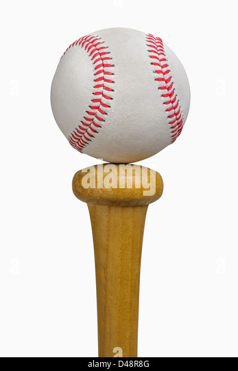 Baseball balancing on bat, isolated on white, includes clipping path - Stock Image