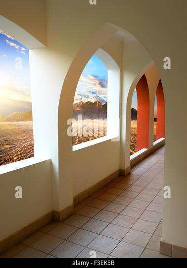 Hotel in Egyptian desert at the sunrise - Stock Image
