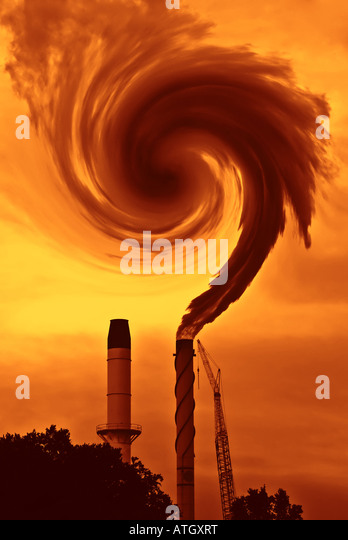 the question of global warming or climate change with smoke from factory in burnt sienna - Stock Image
