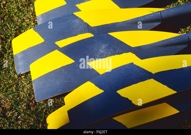 Close-up of colorful oars for a racing scull boat - Stock Image