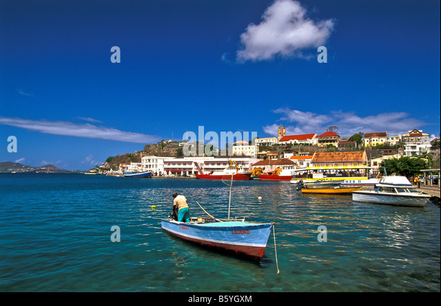 Grenada St. George's harbor picturesque with bright colors carenage capital city in the southern Grenadines - Stock Image