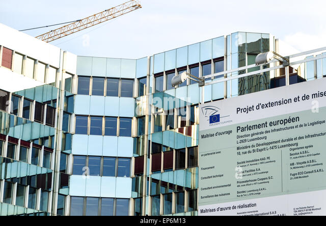 European parliament in Kirchberg, Luxembourg - extension project sign - Stock Image