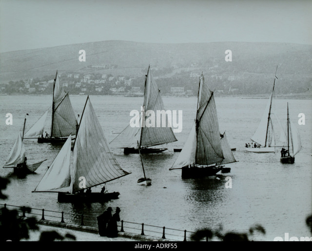 UK Scotland Greenock Firth of Clyde sailing boats during a regatta in the 1890 s - Stock Image
