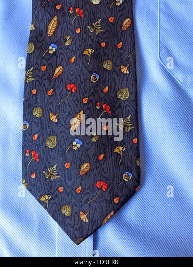 Interesting YSL autumn vintage tie, male neckware in silk - Stock Image