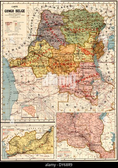 Map of the Belgian Congo, Carte du Congo Belge 1896 - Stock-Bilder
