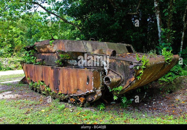 WWI landing craft wreckage, Peleliu, Republic of Palau, Pacific - Stock Image