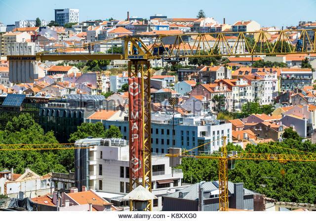 Portugal Lisbon Bairro Alto historic district Principe Real scenic viewpoint city skyline rooftops buildings Baixa - Stock Image