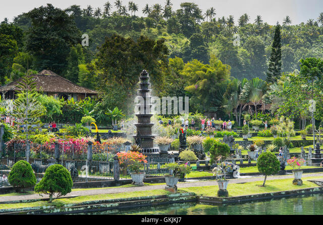 Tirta Gangga Royal Water Garden: Garden Pond Water Stepping Stones Stock Photos & Garden