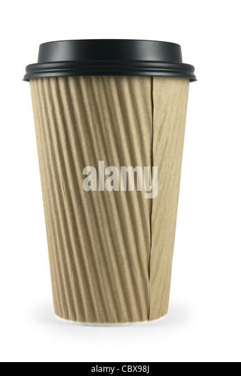 Fun corrugated coffee cup. - Stock Image