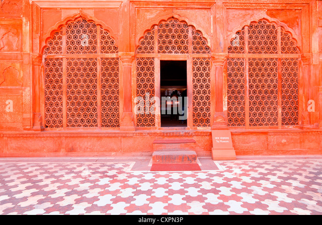 Architectural detail of the Mosque at the Taj Mahal, Agra, India - Stock-Bilder