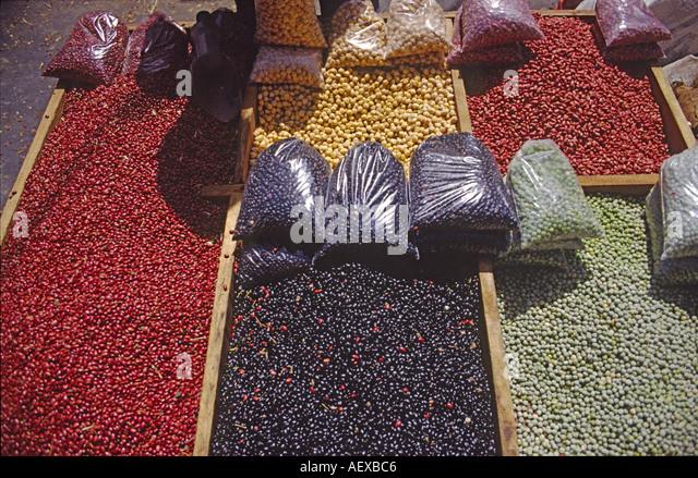 Costa Rica San Jose market beans  - Stock Image