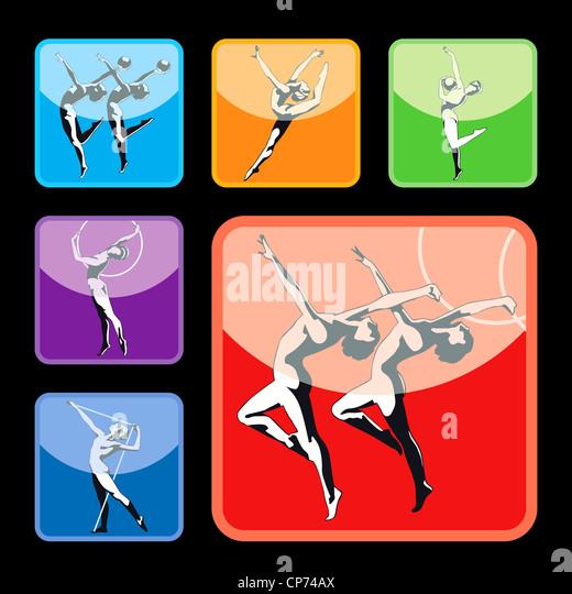 Gymnastics silhouettes set - Stock Image