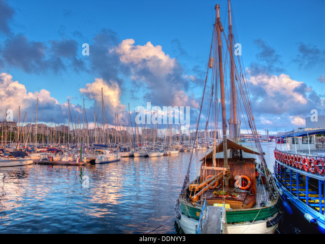 Barcelona harbour, at sunset - Stock Image