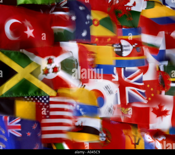 Flags of the World National Flags montage Global Village  Communication - Stock-Bilder