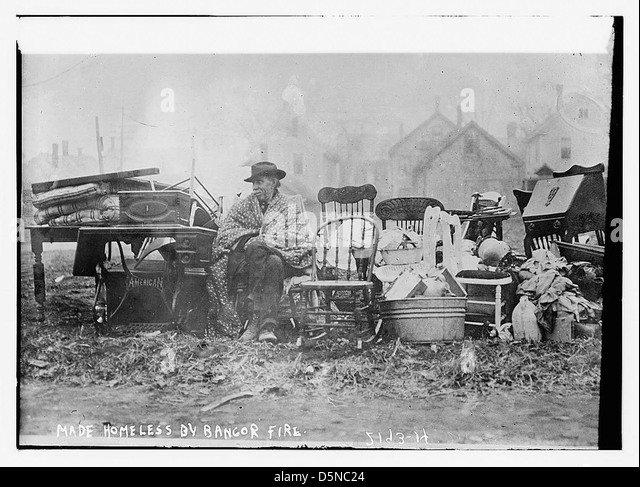 Made homeless by Bangor fire (LOC) - Stock Image