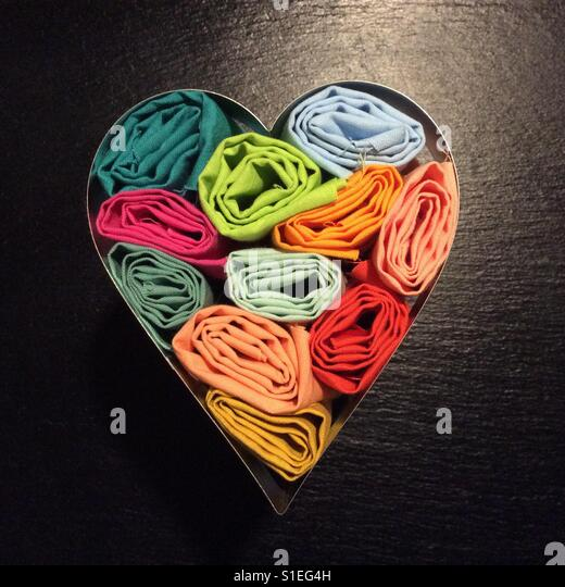 Heart shaped cotton fabric at display - Stock Image